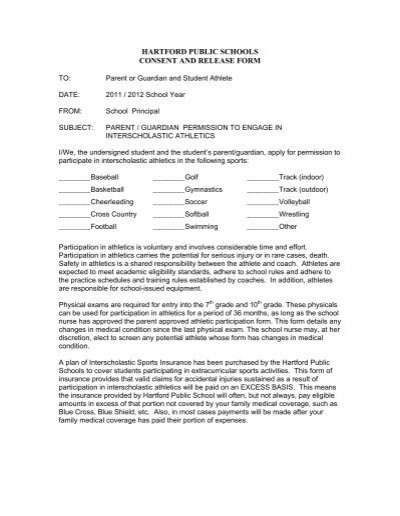 Hartford Public Schools Consent And Release Form The Sport And