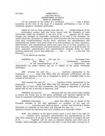 Bond Of Indemnity NC 54(a)   India Post  Deed Of Indemnity