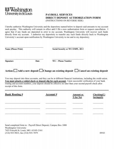 Authorization for Direct Deposit of Pay Electronic Pay Payroll Card – Payroll Authorization Form