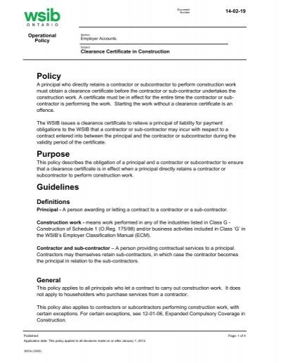 Rate framework (archived): employer classification   wsib.