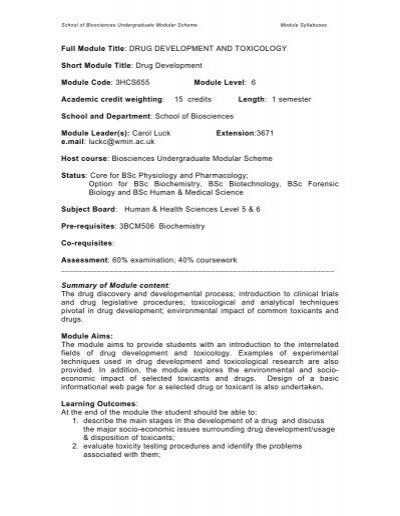 3hcs655 Drug Development Toxicology