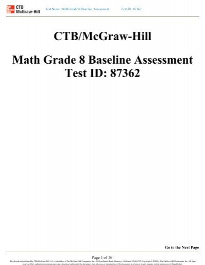 CTB/McGraw-Hill Math Grade 8 Baseline Assessment Test ID: 87362
