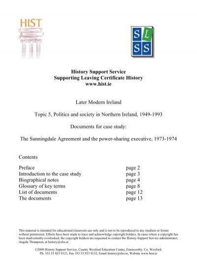 Case Study The Sunningdale Agreement Meathvec