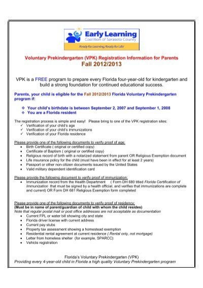 VPK) Registration Information - Early Learning Coalition of ...