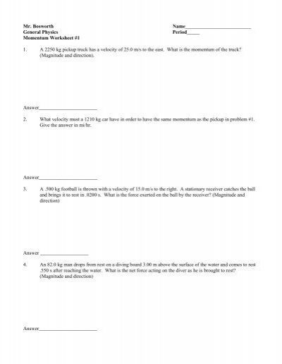 Printables Momentum Worksheet physics momentum worksheet solutions archives 1