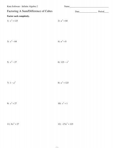 Factoring Cubes Worksheet - Stay At Hand