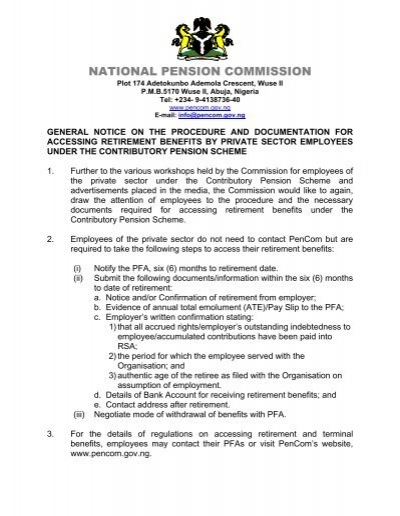 General Notice On Retirement Benefits National Pension