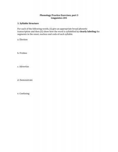 Phonology Practice Exercises, part 3 Linguistics 201 1