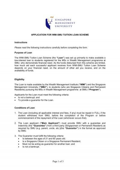 application form for wmi-smu tuition loan scheme - Lee Kong Chian