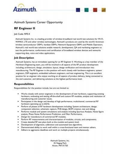 azimuth systems career opportunity rf engineer ii - Rf Engineer Job Description