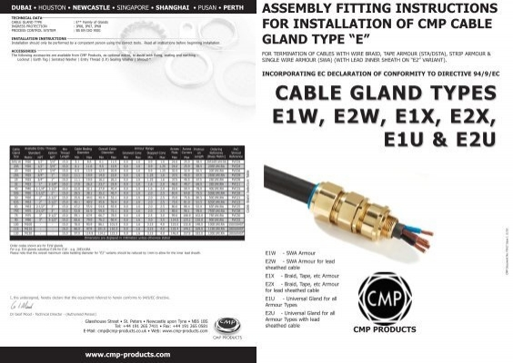 Installation Instructions For Cable Gland Type Cx Cmp Products