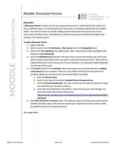 Moodle Discussion Forums