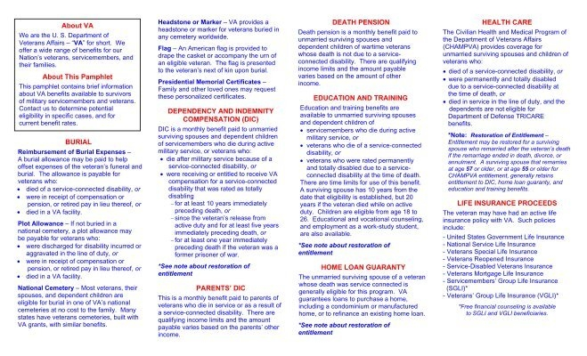 VA Benefits for Survivors - Network of Care
