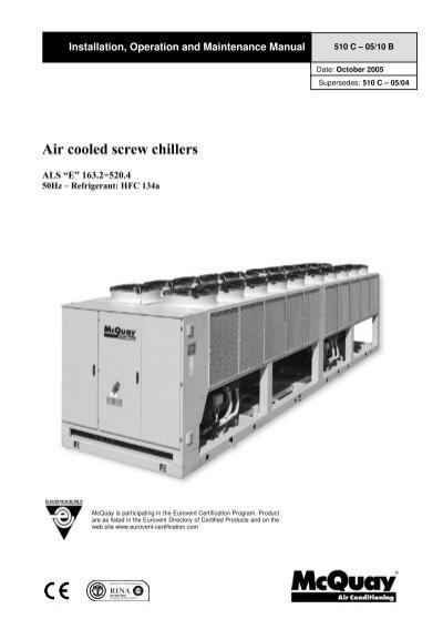 air cooled screw chillers mcquay rh yumpu com mcquay air cooled chiller service manual McQuay Chiller Parts