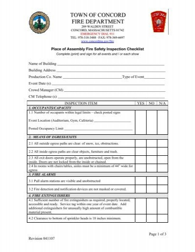 Fire Door Inspection Checklist : Place of assembly fire safety inspection checklist