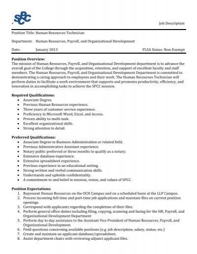 + Job Description Position Title: Human Resources Technician .