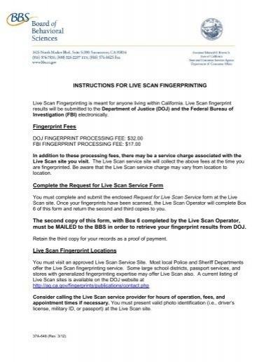 Instructions For Live Scan Fingerprinting Fingerprint