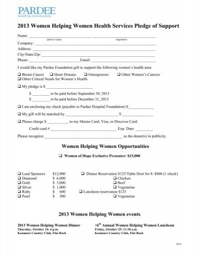 Works of Mercy pledge form – Pledge Form