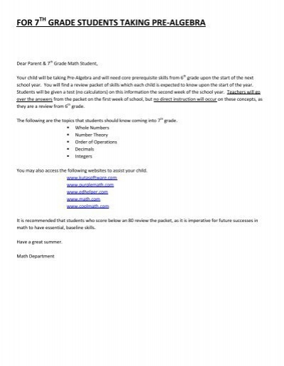 grade 7 algebra test pdf