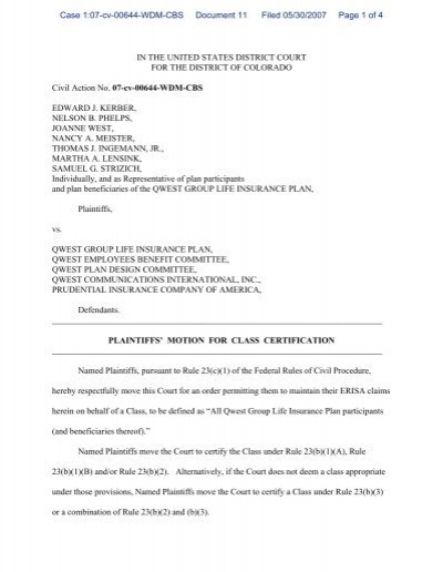 Plaintiffs\' Motion for Class Certification and Supporting Brief