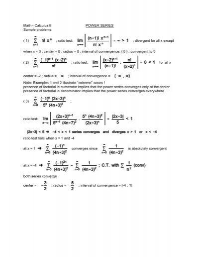 Math - Calculus II POWER SERIES Sample problems ( 1)