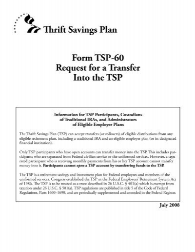 Thrift Savings Plan Form TSP-60 Request for a Transfer Into the TSP