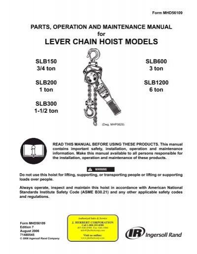 Parts, Operation & Maintenance Manual, Lever Chain Hoist Models