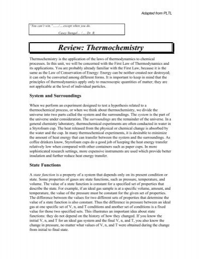 Thermochemistry Reviewpdf Chemconnections