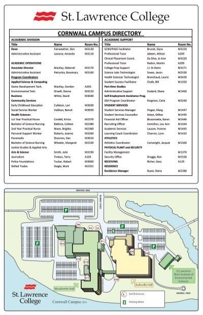 cornwall college campus map Download Campus Map Home A St Lawrence College Virtual Tour cornwall college campus map