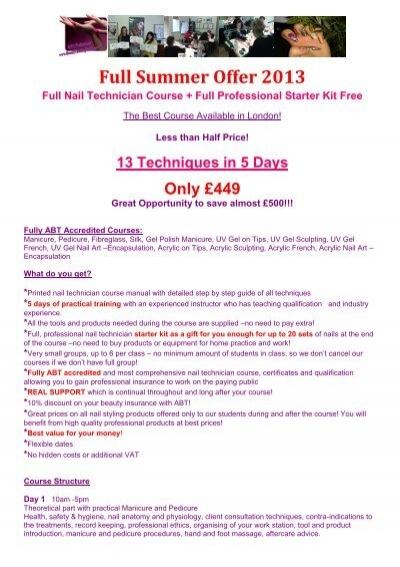 5 Days Nail Technician Coursespdf Beauty Training Studio