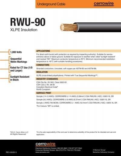 RWU-90 - Cerro Wire and Cable Company
