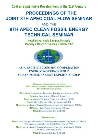 Proceedings Expert Group On Clean Fossil Energy Asia Pacific