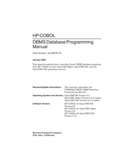 hp cobol dbms database programming manual openvms rh yumpu com COBOL Programmer COBOL Meme