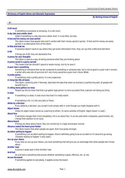Dictionary of English Idioms and Idiomatic Expressions