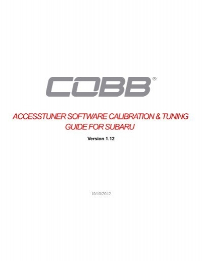 ACCESSTUNER SOFTWARE CALIBRATION     - Cobb Tuning