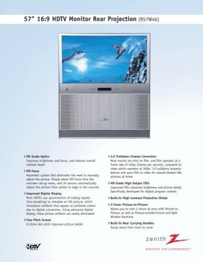57 16 9 hdtv monitor rear projection r57w46 cousin s video rh yumpu com Zenith TV Heath Zenith Manual