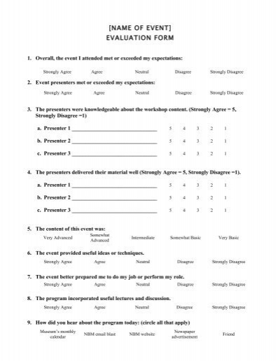 Workshop Evaluation Form Evaluated By Date Reviewed By Date Job