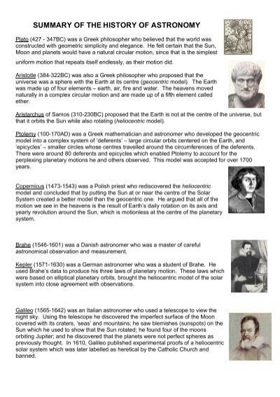 Summary Of The History Of Astronomy Pegsnet