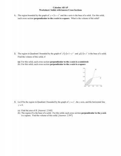 calculus ab ap worksheet solids with known cross sections 1. Black Bedroom Furniture Sets. Home Design Ideas