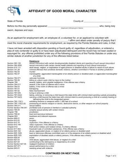 affidavit of good moral character florida department of children