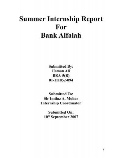 Summer Internship Report for Bank Alfalah - vuZs