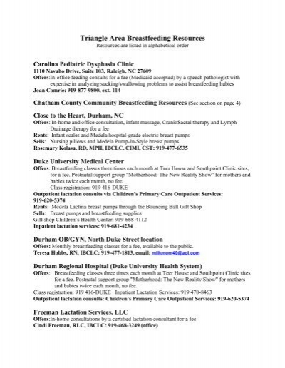 Triangle Area Breastfeeding Resources - North Carolina