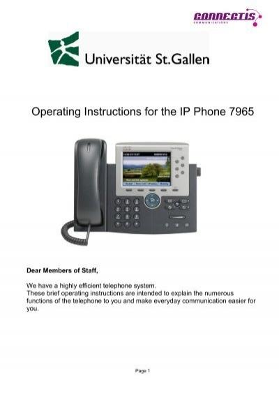 Operating Instructions For The Ip Phone 7965 Universitt Stllen