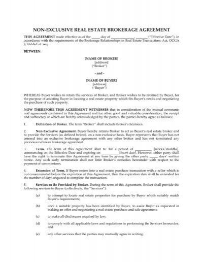 Non Exclusive Real Estate Brokerage Agreement Megadox