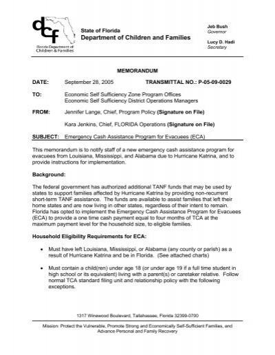 Emergency Cash Assistance Program For Evacuees Eca