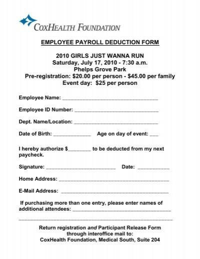 Employee Payroll Deduction Form 2010 Girls Just