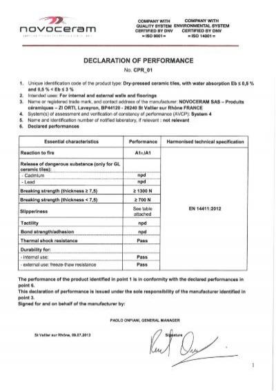 DECLARATION OF PERFORMANCE - Novoceram