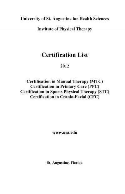 Certification List - University of St. Augustine for Health Sciences
