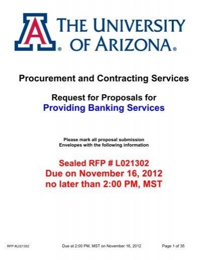 Rfp Document Procurement Contracting Services University Of