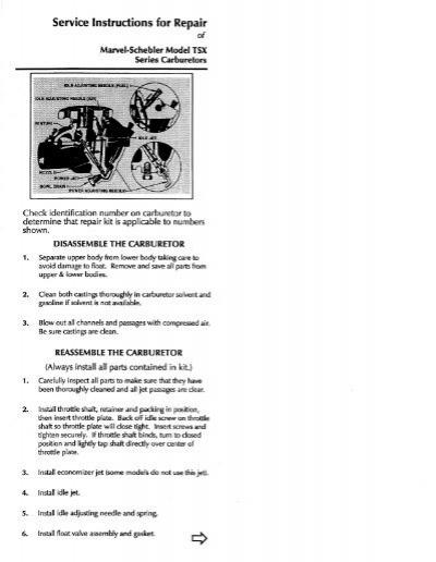 Marvel Schebler ma3spa Maintenance Manual